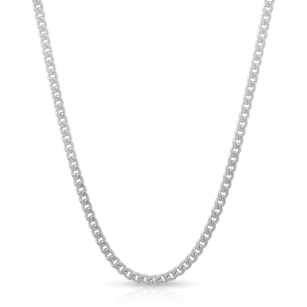 Sterling Silver Italian 2mm Miami Cuban Curb Link Thick Solid 925 Rhodium Necklace Chain 16'' - 30'' (30)