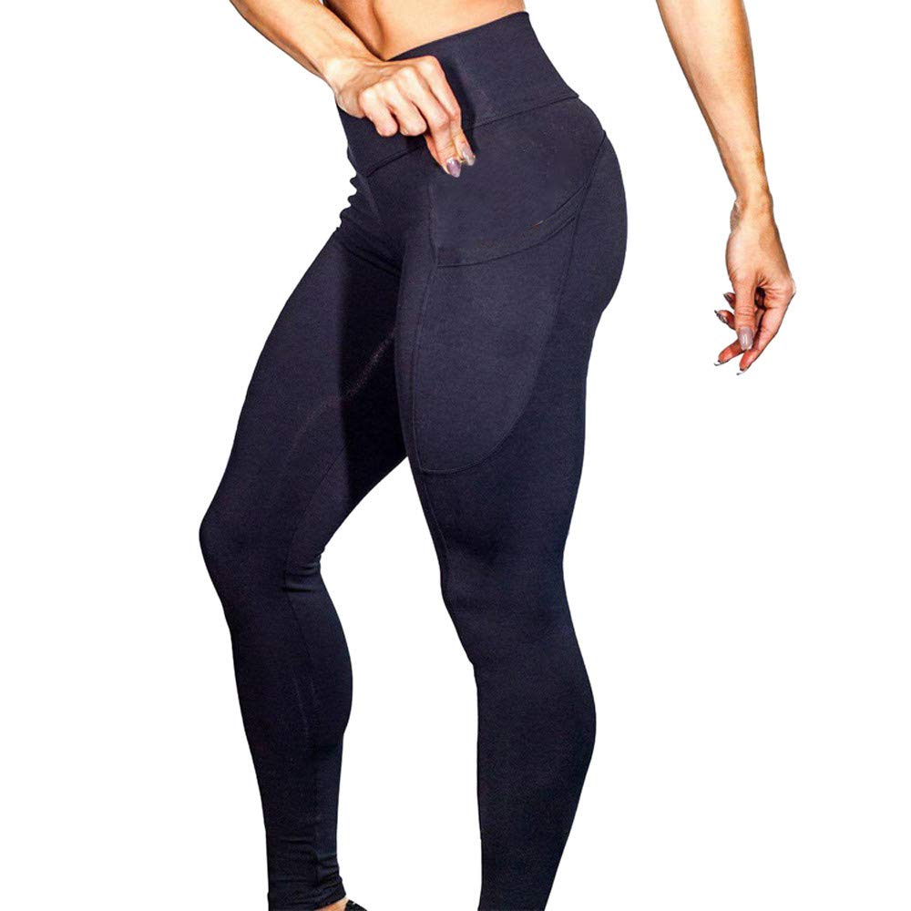 Clearance Womens High Waist Stretch Yoga Leggings Pocket Tummy Control Workout Running Fitness Gym Athletic Pants (Black, X-Large) by Aritone (Image #2)