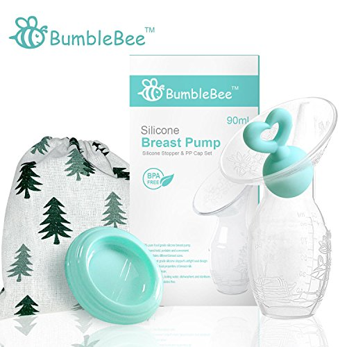 (Bumblebee Manual Breast Pump with Breastfeeding Milk Saver Stopper& lid in Gift Box Breastpump 100% Food Grade Silicone bpa PVC and Phthalate Free)