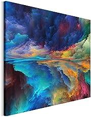 Revolio - Tableaux pour la Mur - Impression Artistique - Design - Images sur Toile - Décoration Murale - Taille: 100x70 cm - Paysage Peinture Bleu