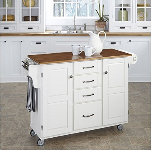 Create-A-Cart White Finish Kitchen Cart Has 4 Drawers, 2 Cabinets, Spice Rack, Towel Bar, Paper Towel Holder and Oak Top.
