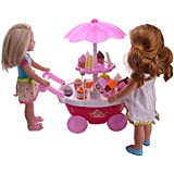 ZWSISU Doll Ice cream cart for 14inch American girl doll Wellie wishers ,doll accessories