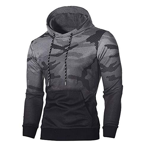 (Sunhusing Men's Hipster Camouflage Long Sleeve Drawstring Hoodie Sweater (XL, Dark)