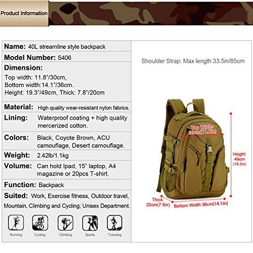 Huntvp 40L Sac à Dos Militaire Tactique Molle Grande Capacité Sac de Multifonction Homme pour Voyage Excursion Camping… 2