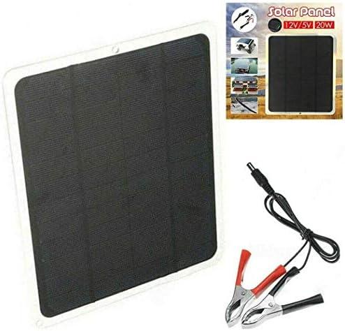 BriskyM 12V 20W Solarzellen, wasserdichtes 20-W-Solarpanel-Erhaltungsladegerät + SAE-Verbindungskabelsätze für Auto, Wohnmobile, Boote, Dächer und unebene Oberflächen