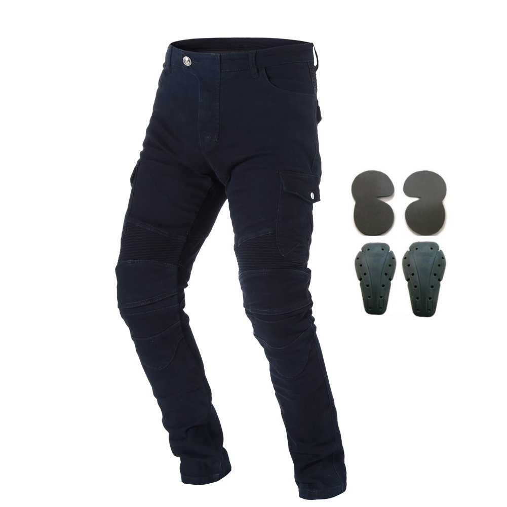 XXL=36, Blue Motorcycle Riding Jeans Armor Racing Cycling Pants with 4 Knee Hip Protective Pads