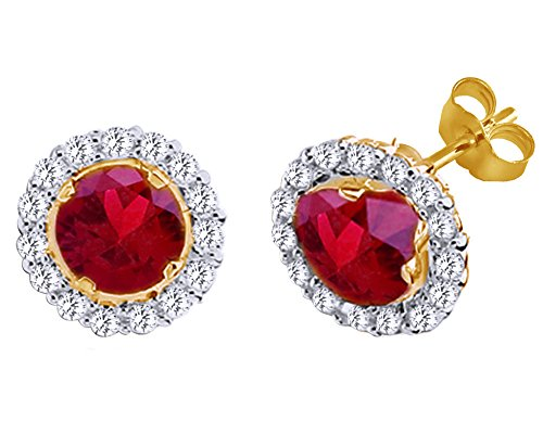 Mothers Gift Cyber Monday Deals Simulated Ruby Halo Stud Earrings 14K Yellow Gold Over Sterling ()