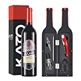 Kato Wine Opener Gift Set - Fun Wine Bottle Accessories Corkscrew Kit, Stopper, Aerator Pourer, Foil Cutter, Glass Paint Marker with Free Drink Stickers, Best Wine Lover Gift, Red