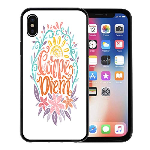 Semtomn Phone Case for Apple iPhone Xs case,Carpe Diem Lettering Seize The Day Unique Creative Typographic Tattoo Popular Latin Phrase for iPhone X Case,Rubber Border Protective Case,Black