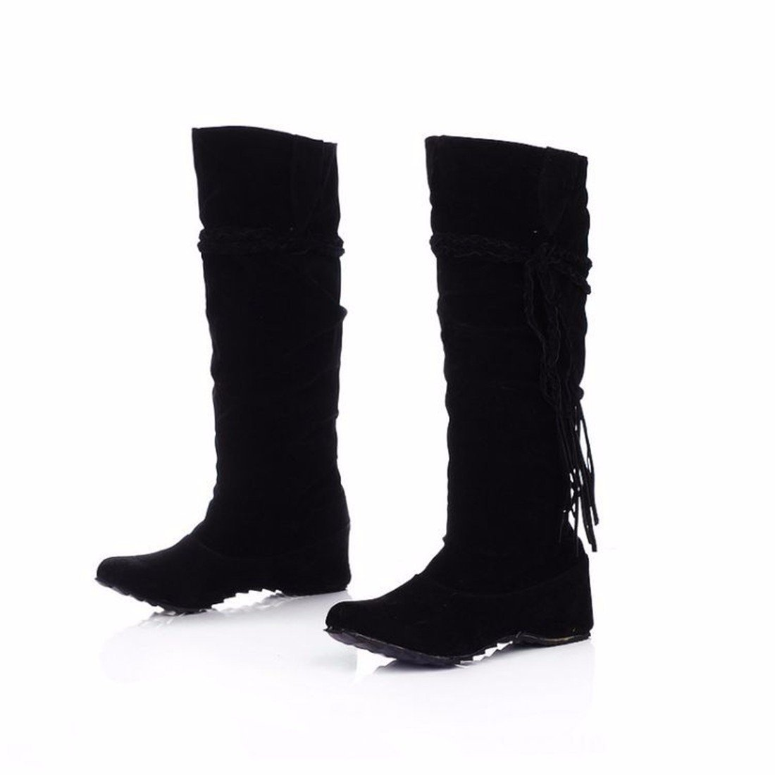 The increase in size of winter scrub fringed boots high boots students US10.5 / EU42 / UK8.5 / CN43|Black (plus cashmere)
