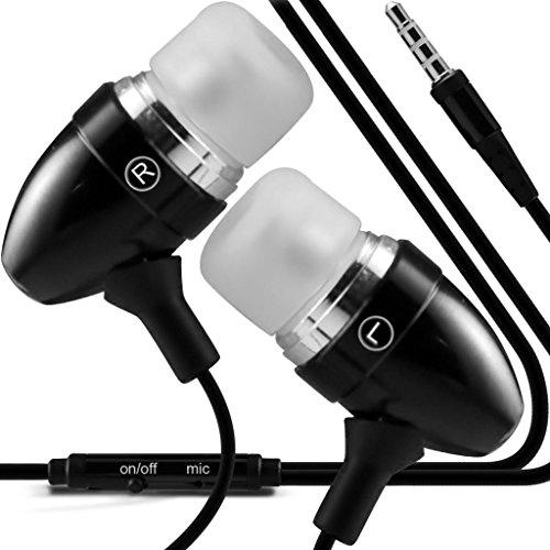 N4U Online - Apple iPhone 4s Des bourgeons de qualité Premium à oreille stéréo mains libres casque Headset avec construit en Mic Microphone & bouton marche-arrêt- Noir
