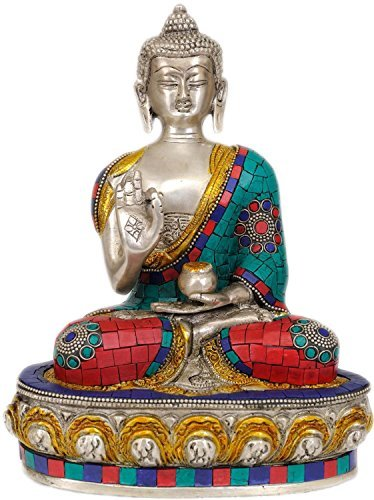 Aone India Lord Buddha Interpreting His Dharma - Brass Statue with Inlay + Cash Envelope (Pack Of 10)