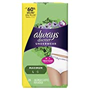 Always Discreet incontinence underwear, maximum classic cut, large, 28 count