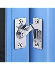 Door Hasp Latch 90 Degree, Stainless Steel Safety Angle Locking Latch for Push/Sliding/Barn Door, Satin Nickel