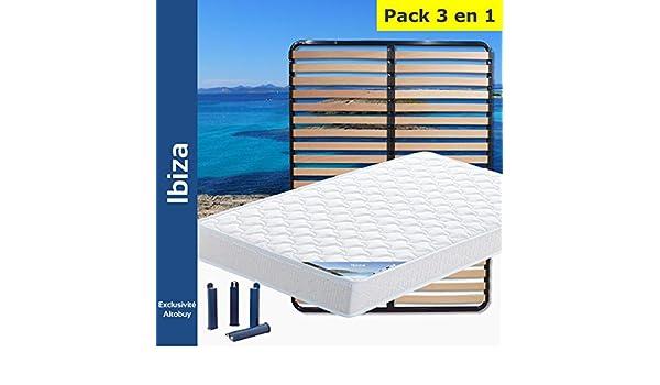 AltoBuy Ibiza - Pack Colchón + somier 140 x 190 + Patas: Amazon.es: Hogar