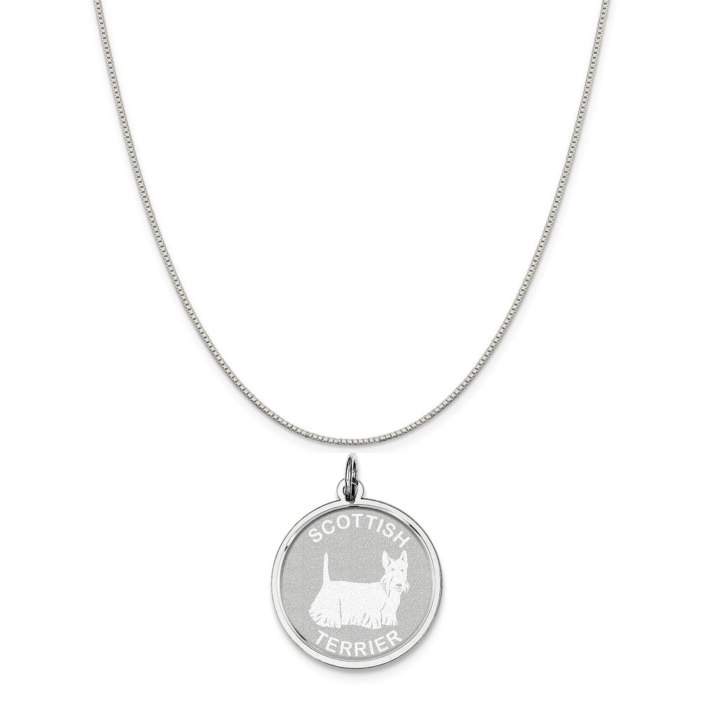 16-20 Mireval Sterling Silver Engravable Round Disc Charm on a Sterling Silver Chain Necklace