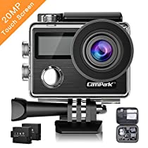 Campark X20 Action Cam 4K Touch Screen Action Camera WIFI, 20MP 170° Grandangolare con Custodia Impermeabile, doppio schermo LCD, remote control, EIS, 2 Batterie Ricaricabili 1050mAh e Kit Accessori
