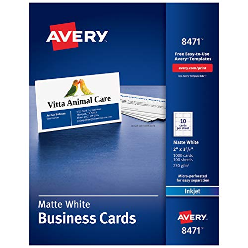 Avery Printable Business Cards, Inkjet Printers, 1,000 Cards, 2 x 3.5, Heavyweight (8471) (Staples Business Cards)