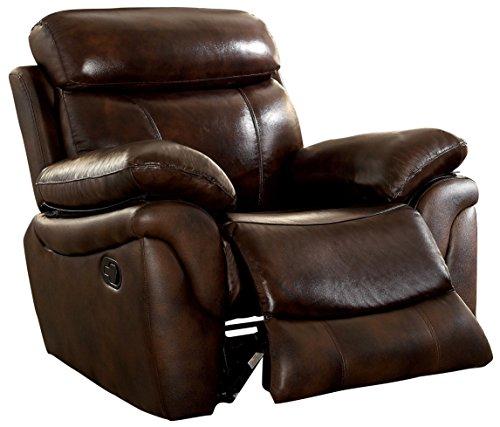 Furniture of America Roman Top Grain Leather Match Recliner