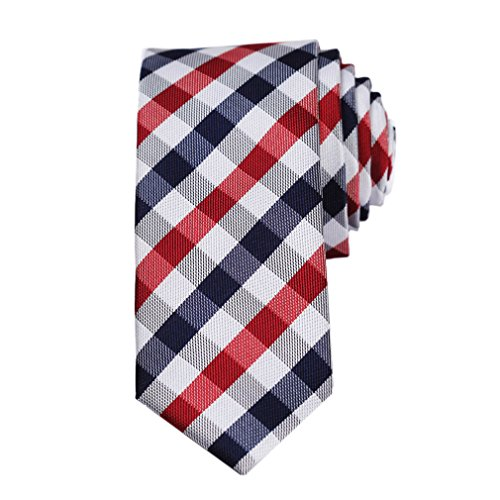 SetSense Men's Plaid Jacquard Woven Slim Skinny Narrow Tie Necktie 5.5 cm / 2.17 inches in Width Red / Navy Blue / White (Narrow Ties For Men compare prices)