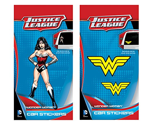 DC+Comics Products : Enjoy It DC Comics Justice League Wonder Woman Car Sticker Pack (1 Wonder Woman figure sticker, 2 Wonder Woman logo stickers)