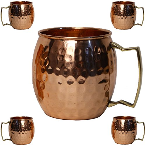 Copper Mug Moscow Mule Mug Set of 4 Hammered Cups Gift Set Capacity 16 Oz (Gift New Year)