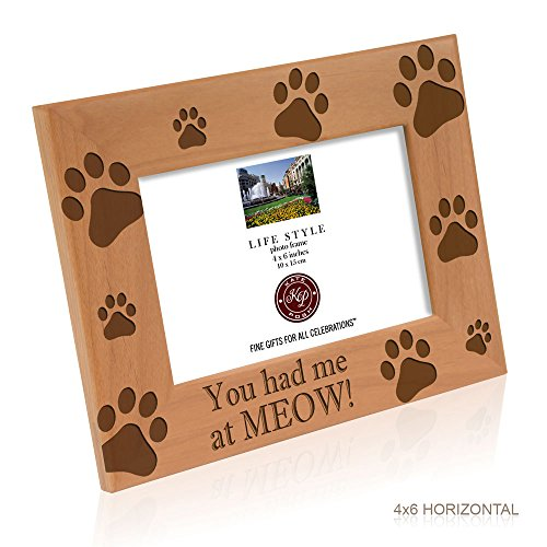 Kate Posh You Had Me At Meow Cat Kitty Paws Wood Engraved Wood