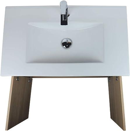 VAROBATH Mueble de baño de 2 Puertas con Lavabo de Ceramica - Modelo Luup (60 cms, Hera)
