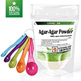 Cheap LIVING JIN Agar Agar Powder 4oz and 5-Piece Measuring Spoon Set : Vegetable Gelatin Powder Dietary Fiber [100% Natural seaweed + Non GMO + VEGAN + KOSHER + HALAL]