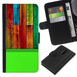 KingStore / Leather Etui en cuir / LG G3 / Modelo de la textura de madera verde colorido