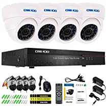 OWSOO 4CH Channel Full 960H/D1 800TVL CCTV Surveillance DVR Security System HDMI P2P Cloud Network Digital Video Recorder + 4Indoor Infrared Dome Camera + 460ft Cable support IR-CUT