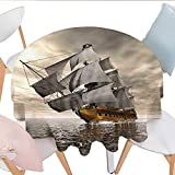 French Provincial Coffee Table Home-textile-print Ocean Patterned Tablecloth 3D Style Pirate Ship Sea Historic Vessel Cloudy Sky Voyage Exploration Theme Waterproof Table Cover for Kitchen D54 Grey Pale Coffee