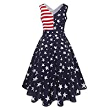 Pervobs Dress, Big Promotion! Women Vintage Sleeveless Flag Printing Casual V-Neck Evening Party Prom Swing Dress (XXL, Blue)