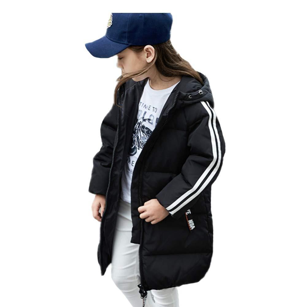 noir 140cm RSTJ-Sjc Enfants Filles Long Manteau Doudoune à Capuche Coupe-Vent épaissir Zipper Design Outwear, Parfait pour l'hiver Froid