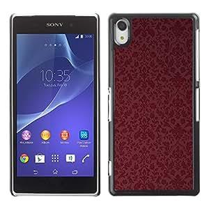 Be Good Phone Accessory // Dura Cáscara cubierta Protectora Caso Carcasa Funda de Protección para Sony Xperia Z2 D6502 D6503 D6543 L50t L50u // Maroon Wallpaper Retro