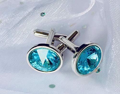Sterling Silver Wedding Accessories Wedding Anniversary Gifts Blue Zircon Cufflinks December Birthstone Turquoise