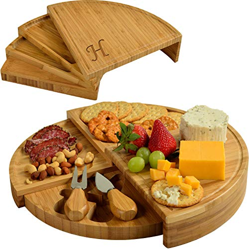 Picnic at Ascot Personalized Bamboo Board for Appetizers with Cheese Tools - Spirals from a Compact Wedge to 13