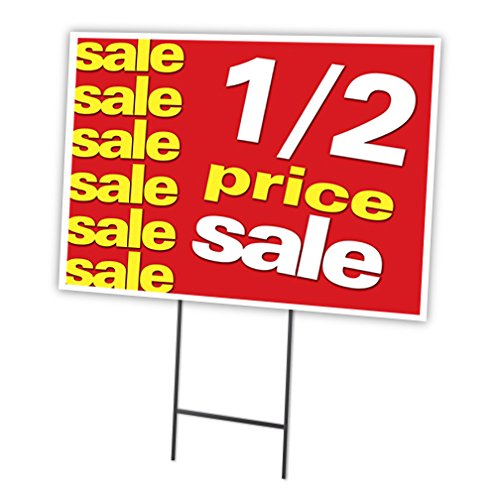 """1-2 PRICE SALE 18""""x24"""" Yard Sign & Stake outdoor plastic cor"""