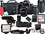 Canon T6i Video Kit with 18-55mm + 55-250mm STM Lens, Shot-Gun Mic + LED Video Light and Sandisk 64GB SD Card Class 10 - Wi-Fi Enabled