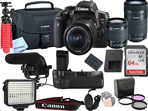 Canon T6i Video Kit with 18-55mm + 55-250mm STM Lens, Shot-Gun Mic + LED Video Light and Sandisk 64GB SD Card Class 10 - Wi-Fi Enabled by Canon(R)