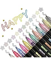Dazzle Markers, Double Line Outline Pen Markers, 12 Colors Marker Pen Magic Shimmer Paint Pens for Highlight for Drawing/Painting/Posters/DIY Art Crafts