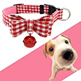 Glumes Clearance Pet Collar Cute Bowknot Plaid Printed Collar with Bell Cat Dog Necklace Adjustable Necklace for Puppy Dogs Cats Small Pets Best Christmas Birthday Gift