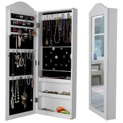 Songmics Schmuckschrank Wandspiegel zum Hängen mit Tür und Magnetverschluss JBC83W -