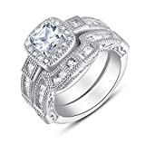 BL Jewelry Sterling Silver Vintage Style Cushion Cut Cubic Zirconia Bridal Engagement Wedding Ring Set