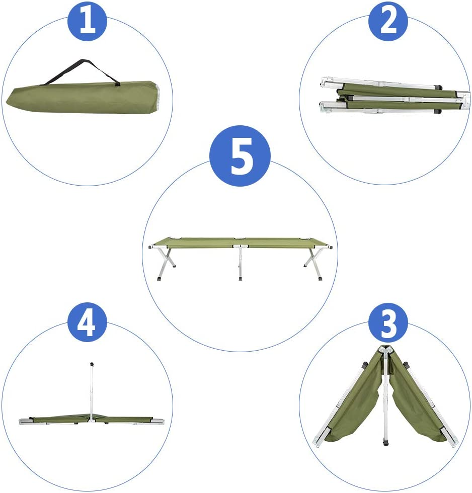 Outdoor Indoor Office Hospital Patio Furniture Bed with Carrying Bag Military Cot Canvas Tent EBLSE Folding Camping Sleeping Cot Portable Traveling Camping Bed