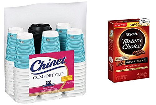Combo 50 Cups & Lids with instant coffee sticks combined by Chinet