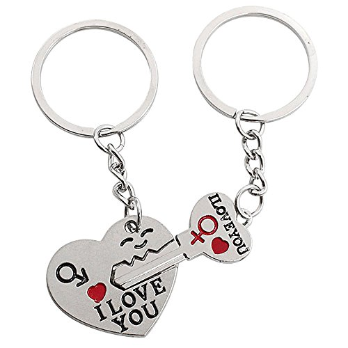 Key Valentine (Refaxi NEW Couple Gift Heart Key Keychain Keyring Set Valentine's Day Love Gift 1 Pair)
