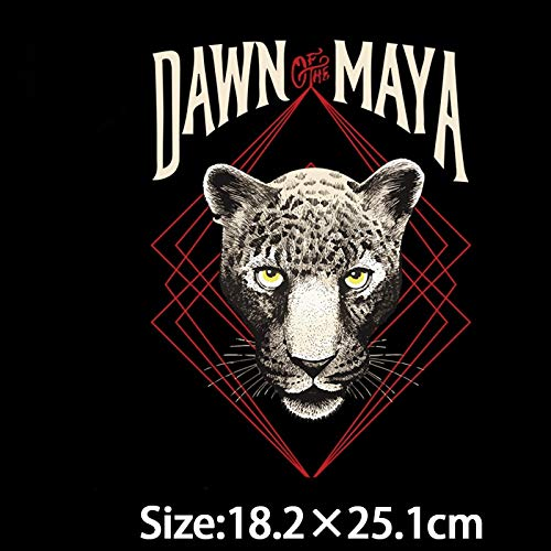 Iron On Patches - Pyrography 18 25cm Heat Transfer Leopard Dawn Maya Iron On Patches T Shirt Clothing Decoration - Quotes Black Occult Thrones Numbers Transformers Deadpool Jamaican Kiss Tr