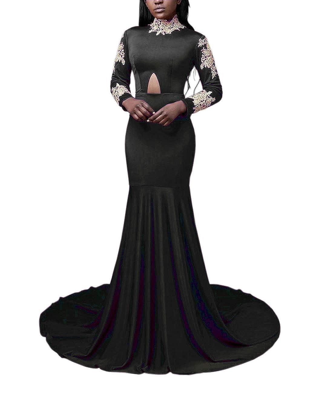 Black BridalAffair Sexy Long Mermaid Prom Dresses 2019 High Neck Long Sleeve Floor Length Party Prom Dress