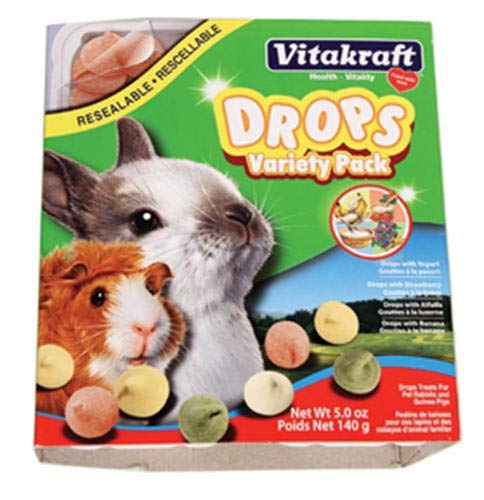 Vitakraft Drops Variety 4 Pack (Yogurt, Banana Strawberry, Alfalfa) Treat For Small Animals, 5.0 Ounce Resealable Tray